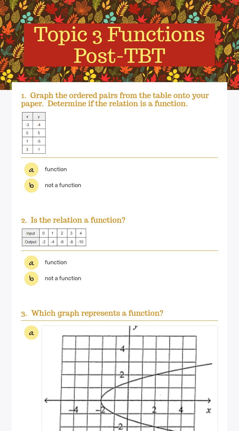 medium resolution of Topic 3 Functions Post-TBT   Interactive Worksheet by Shannon OConnell    Wizer.me