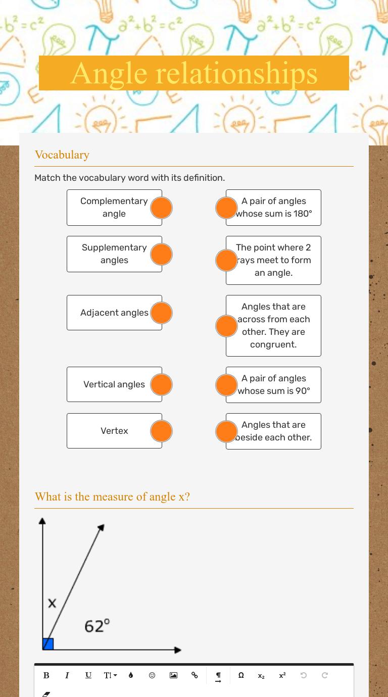 Angle relationships   Interactive Worksheet by Joe Dotson   Wizer.me [ 1380 x 768 Pixel ]
