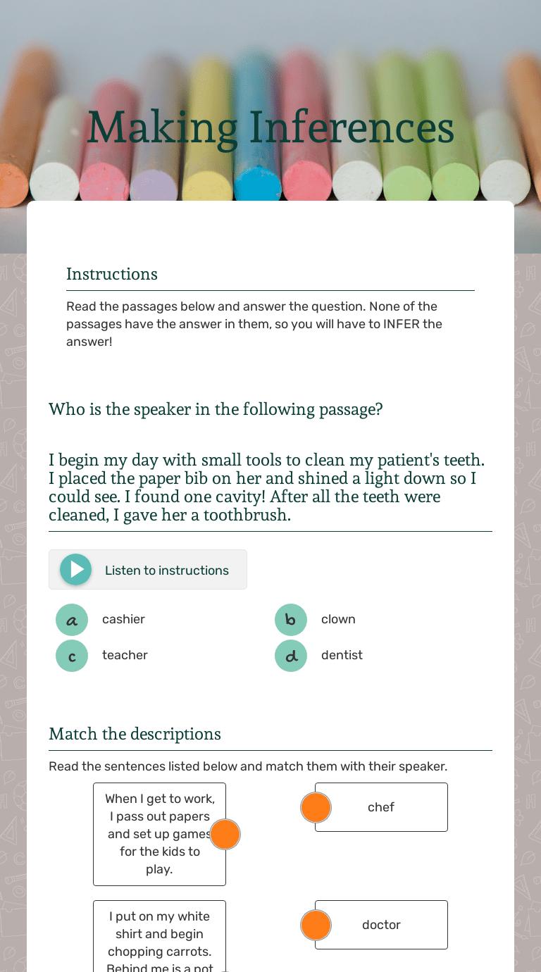 Making Inferences   Interactive Worksheet by Sarah Hetzel   Wizer.me [ 1380 x 768 Pixel ]
