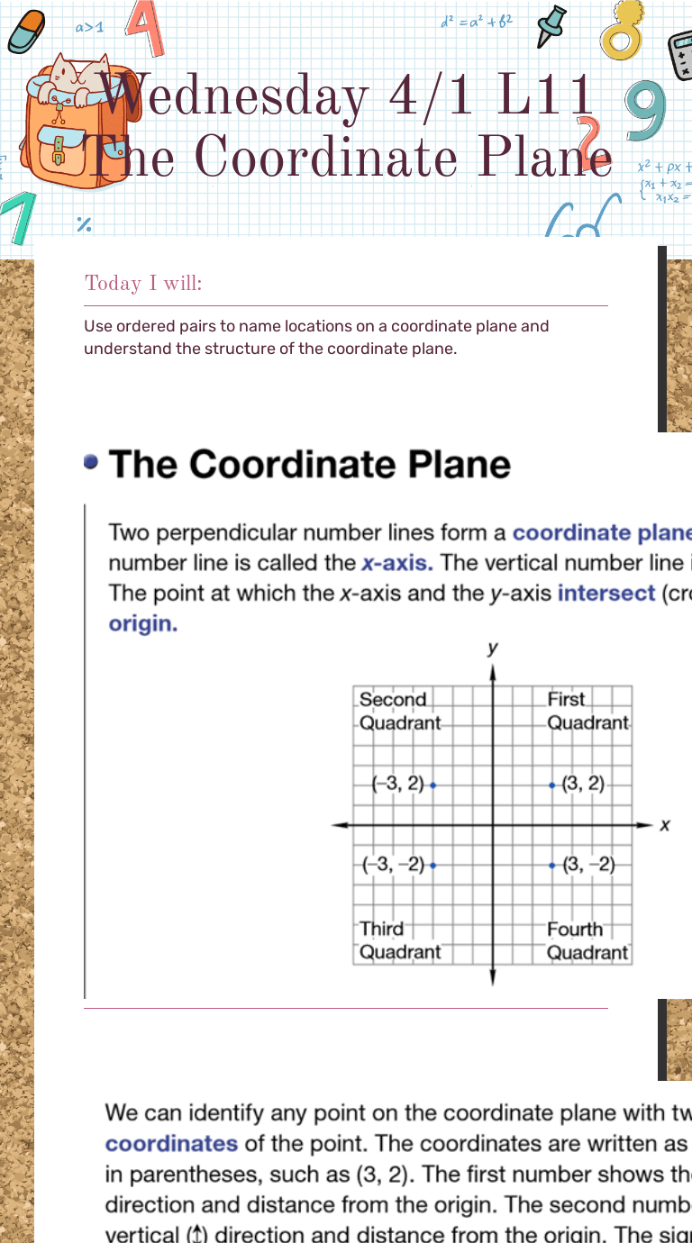 Wednesday 4/1 L11 The Coordinate Plane   Interactive Worksheet   Wizer.me [ 1380 x 768 Pixel ]