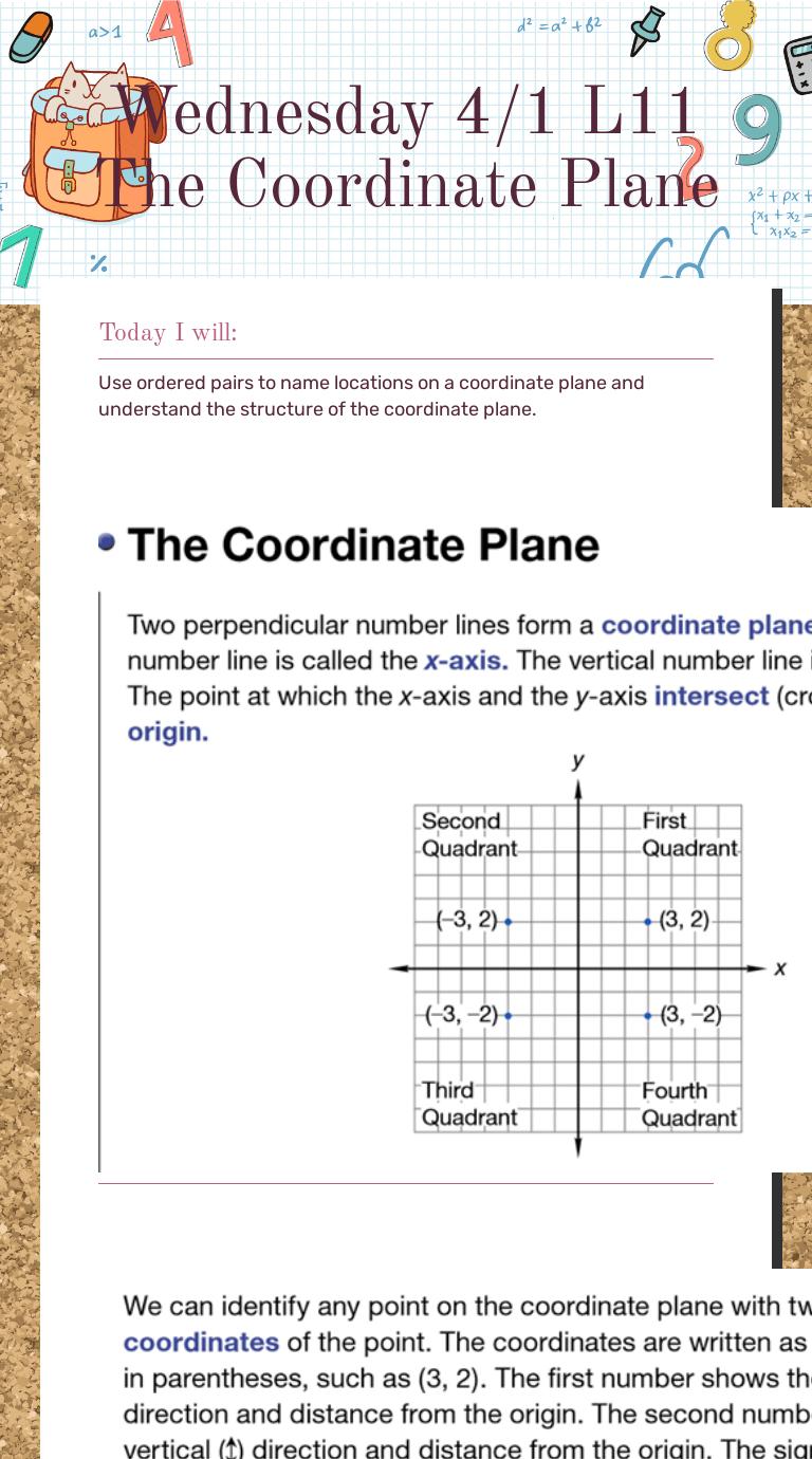 medium resolution of Wednesday 4/1 L11 The Coordinate Plane   Interactive Worksheet   Wizer.me