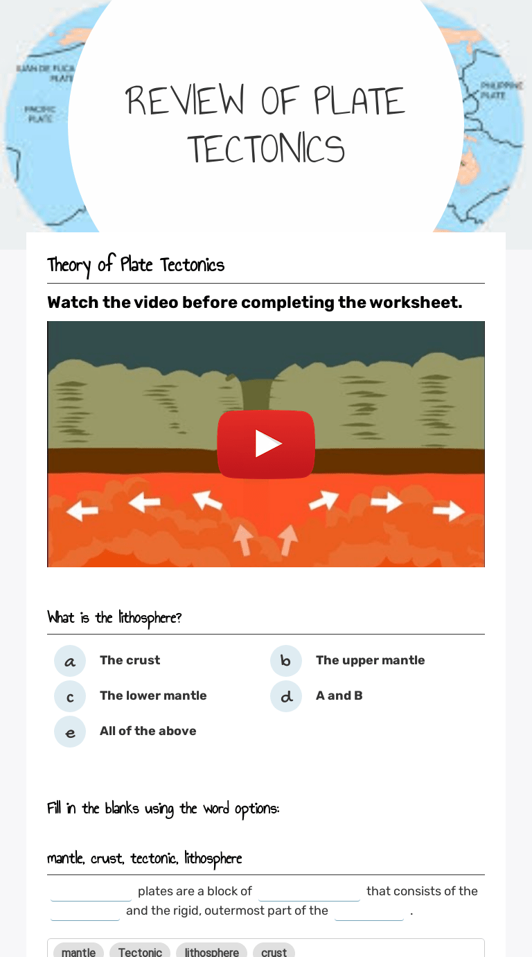 medium resolution of REVIEW OF PLATE TECTONICS   Interactive Worksheet by Mellanie Lee   Wizer.me