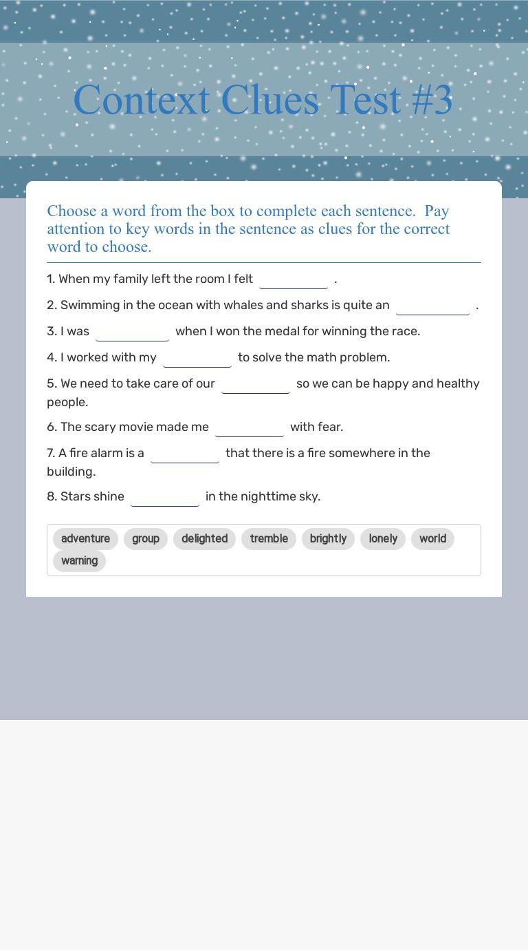 Context Clues Test #3   Interactive Worksheet by Erin Huebner   Wizer.me [ 1380 x 768 Pixel ]