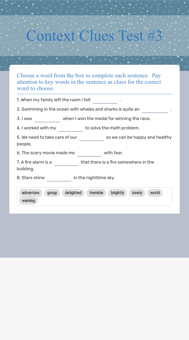 hight resolution of Context Clues Test #3   Interactive Worksheet by Erin Huebner   Wizer.me