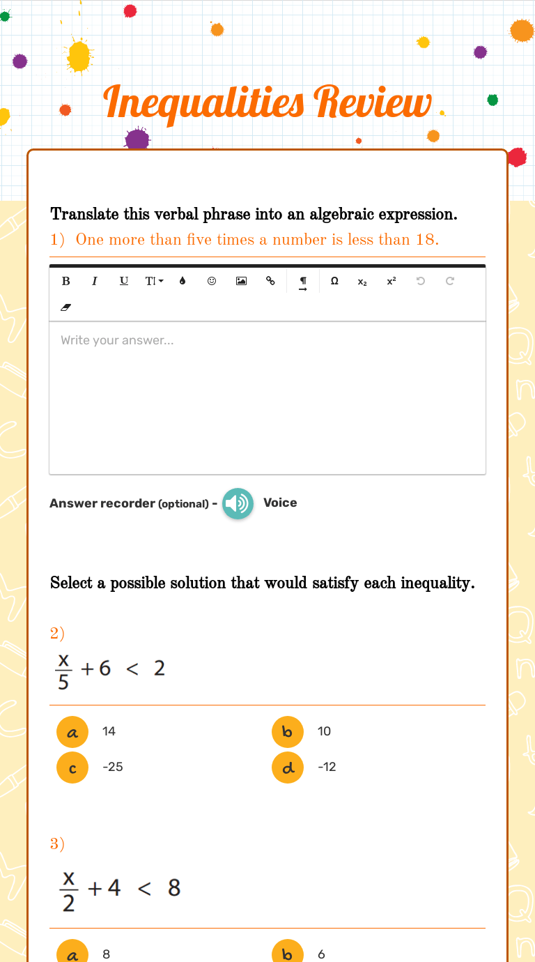 Inequalities Review   Interactive Worksheet by Angela Meekey   Wizer.me [ 1380 x 768 Pixel ]