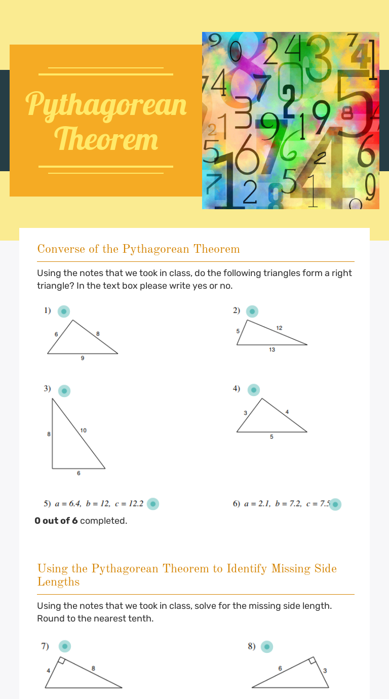 Pythagorean Theorem   Interactive Worksheet by Lydia Darrach   Wizer.me [ 1380 x 768 Pixel ]