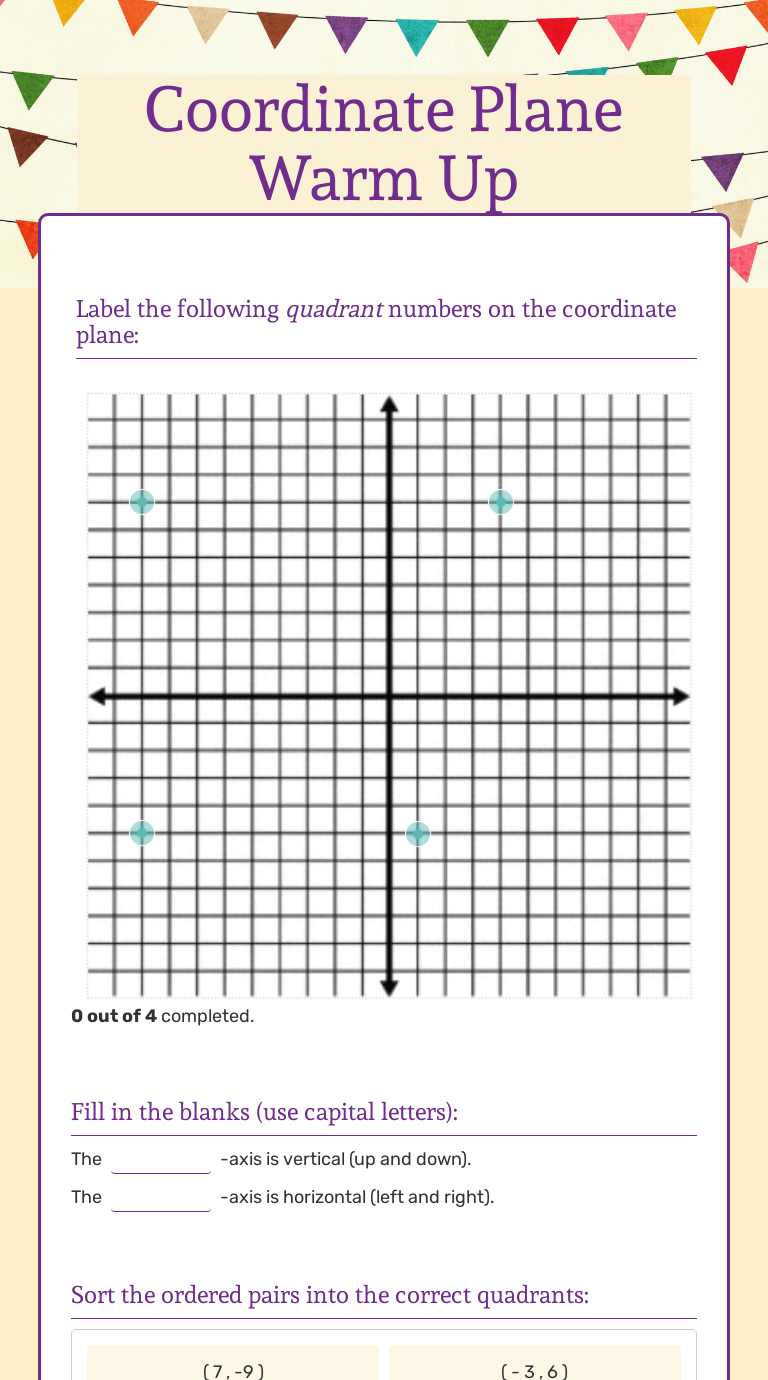 small resolution of Coordinate Plane Warm Up   Interactive Worksheet by Tourean Johns   Wizer.me