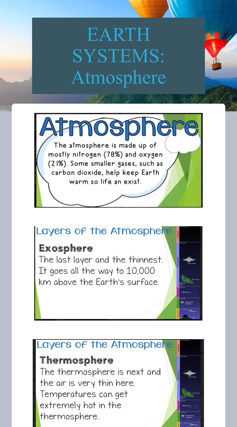 EARTH SYSTEMS: Atmosphere   Interactive Worksheet by SOURIKA SINPRASITH    Wizer.me [ 1380 x 768 Pixel ]