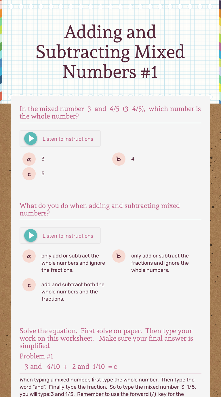 Adding and Subtracting Mixed Numbers #1   Interactive Worksheet by Sharon  Daugherty   Wizer.me [ 1380 x 768 Pixel ]