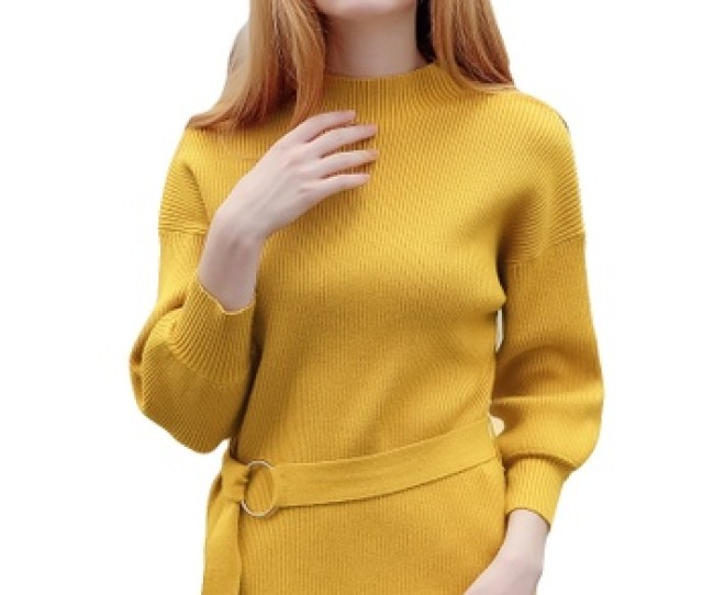 A In Girls Yellow Half Necked Turtleneck Sleeve Sweater 1a7c1aa85a7214gs_1