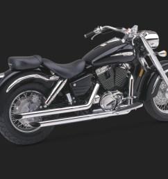 vance hines straightshots for street exhaust chrome honda shadow aero 1100 1998 2002 [ 1000 x 800 Pixel ]