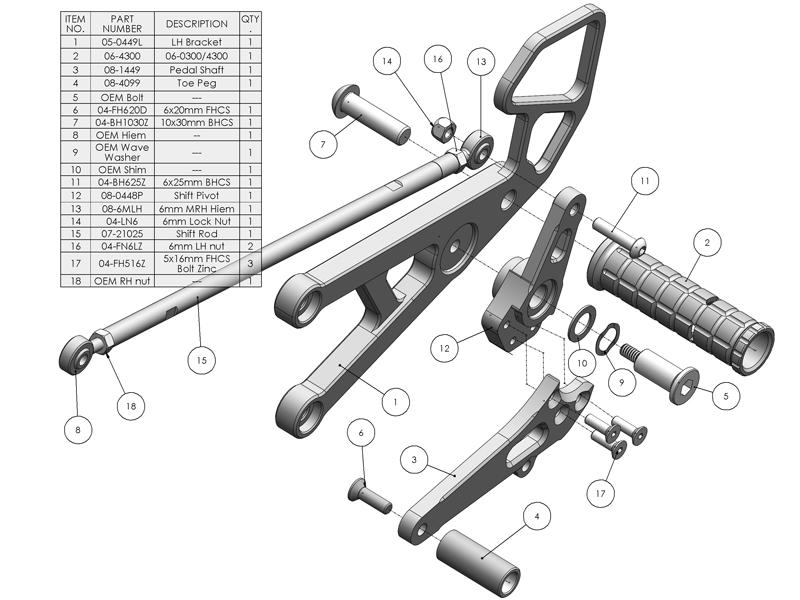 Woodcraft Rearsets Yamaha R6 2006-2016