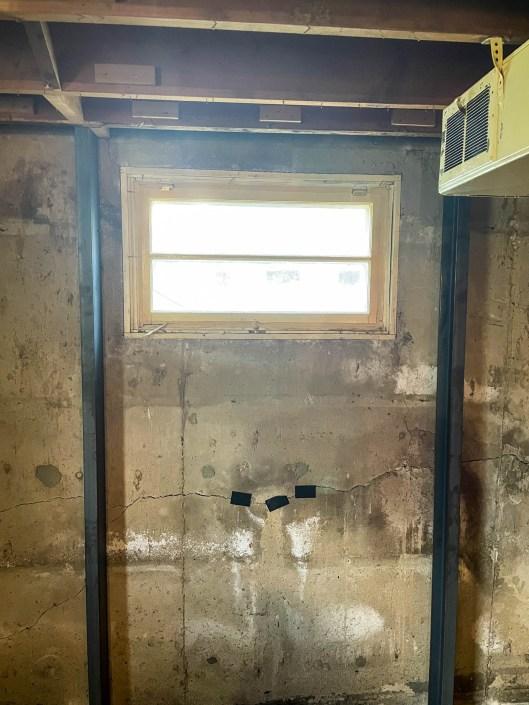 bracing a basement wall in regina around a window