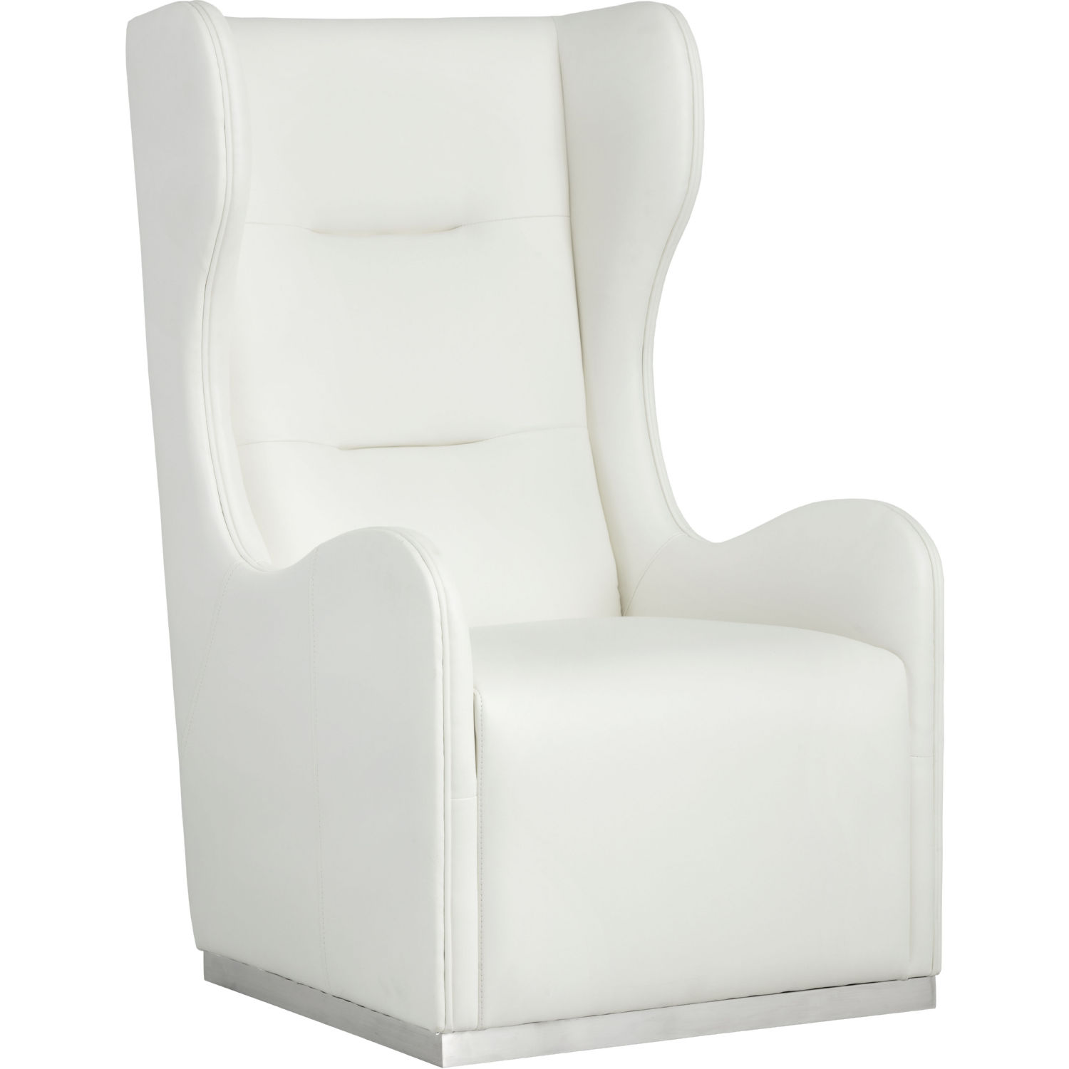 White Wing Chair Franny Swivel Wing Chair In White Leather On Polished Stainless By Sunpan