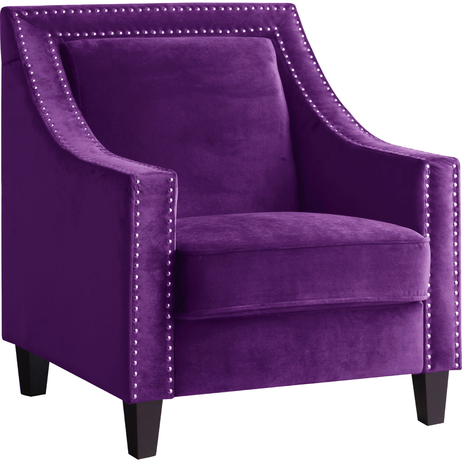 Purple Accent Chair Camren Accent Chair In Purple Velvet W Nailhead By Chic Home