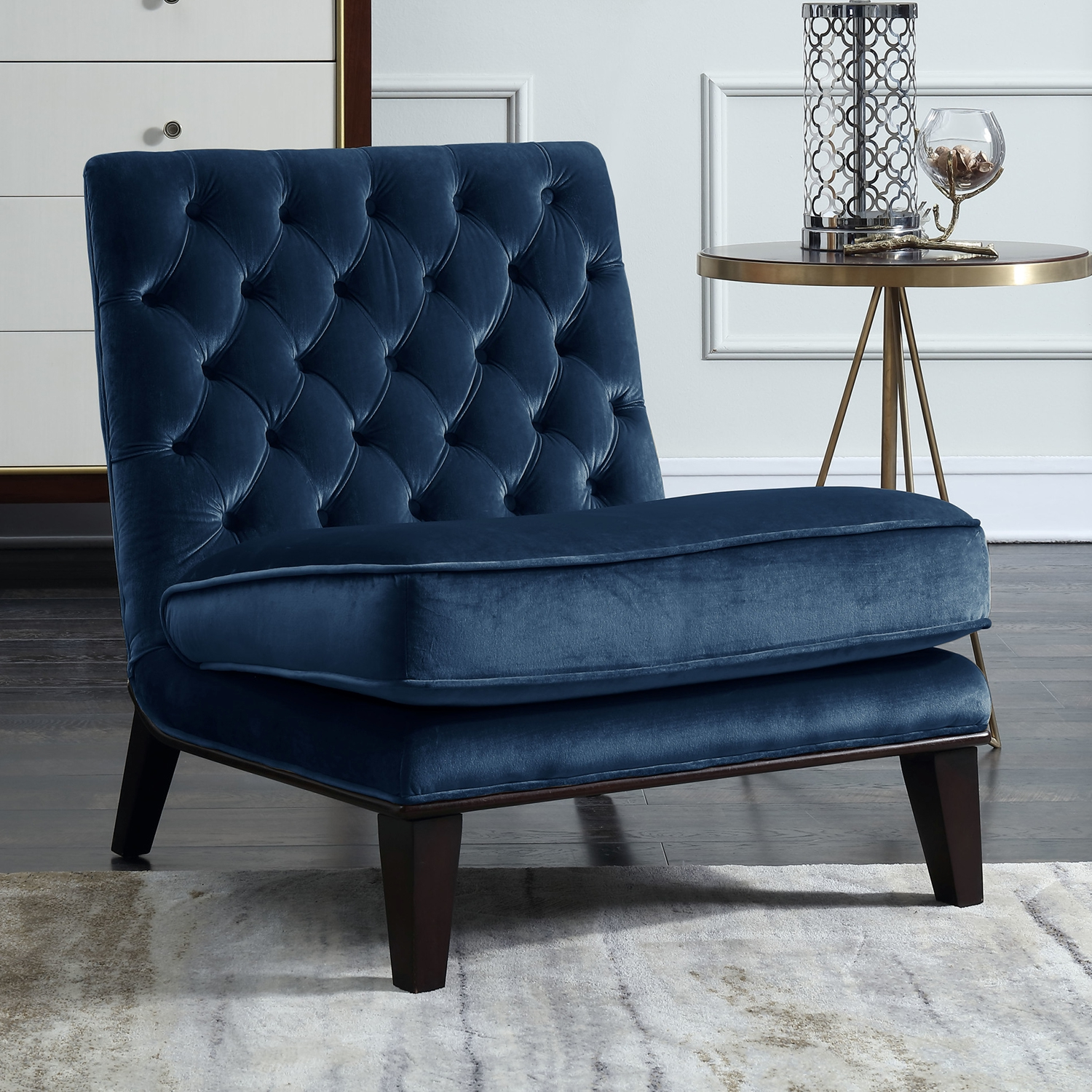 Velvet Slipper Chair Achilles Accent Slipper Chair In Tufted Navy Velvet By Chic Home