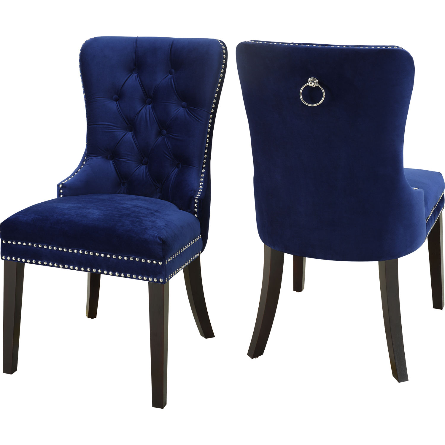 Blue Velvet Chair Meridian Furniture 740navy C Nikki Dining Chair In Tufted
