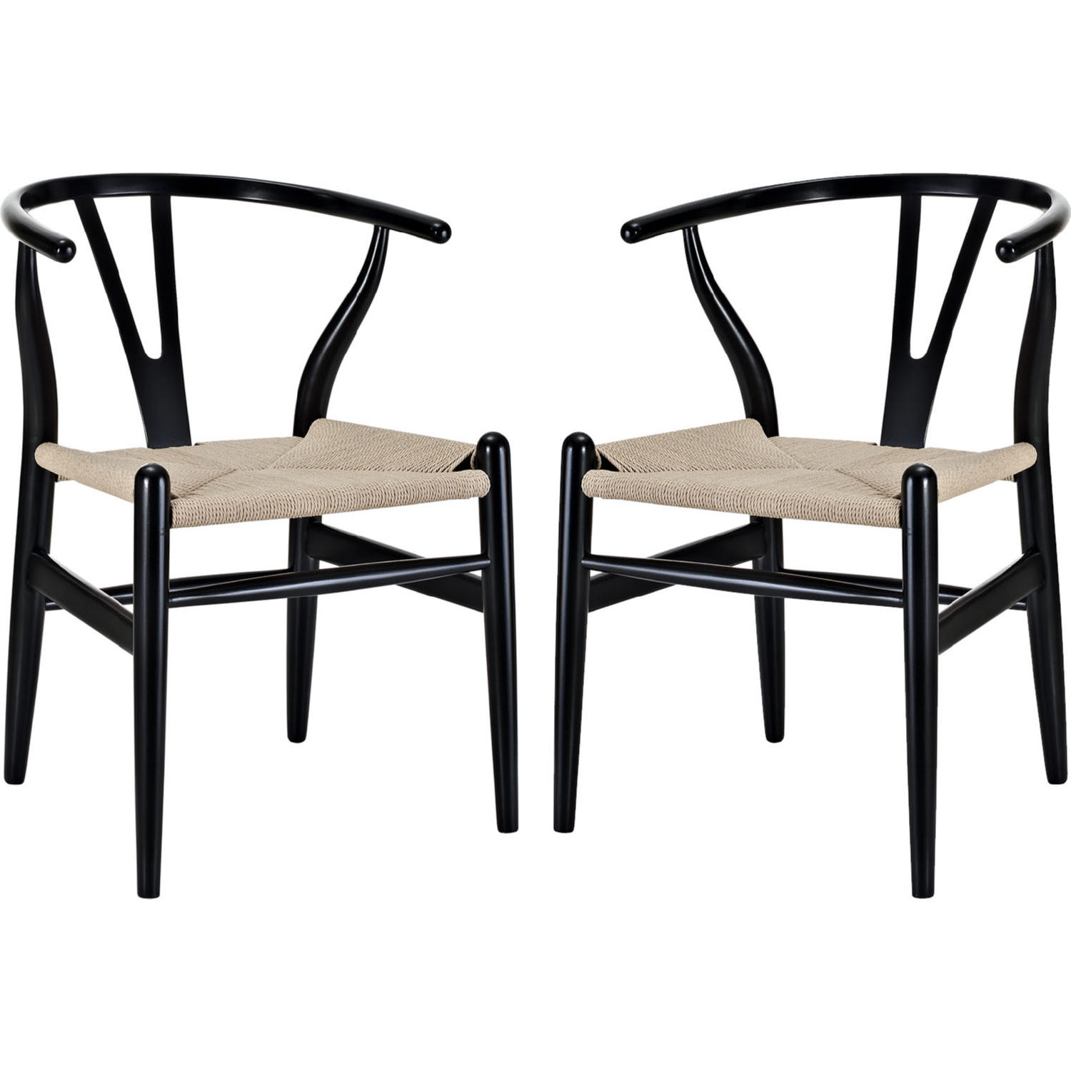 Wishbone Dining Chair Amish Wishbone Style Dining Armchair In Black Set Of 2 By Modway