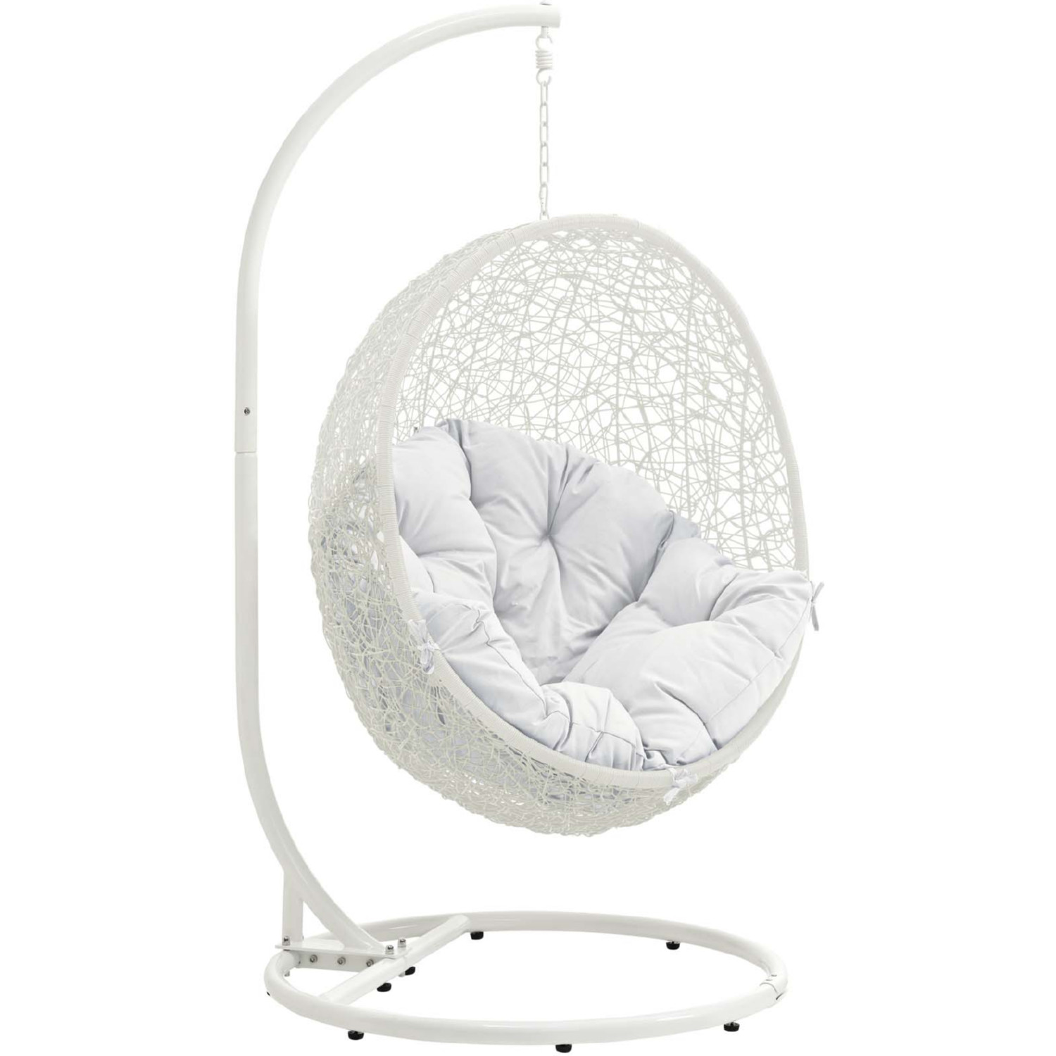 Swing Chair Stand Hide Outdoor Patio Swing Chair W Stand In White Poly Rattan W White Cushion By Modway