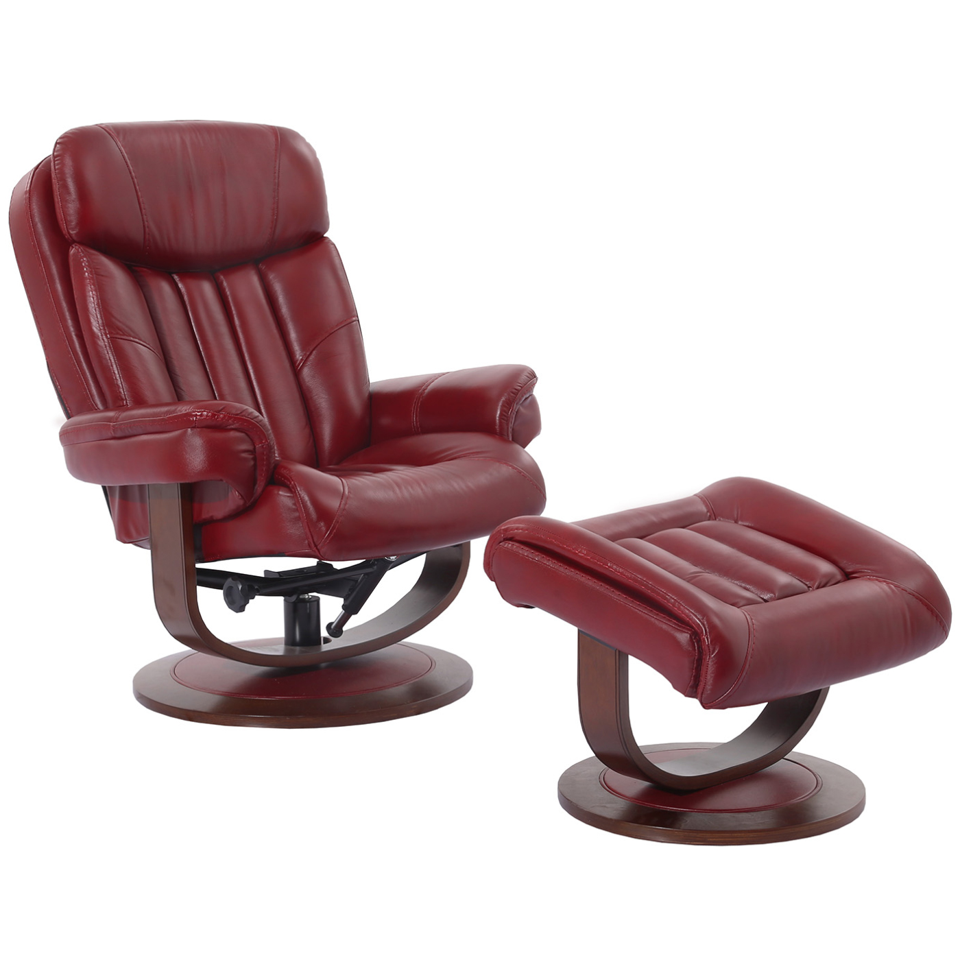 Red Leather Swivel Chair Prince Manual Reclining Swivel Chair Ottoman In Rouge Red Top Grain Leather By Parker House