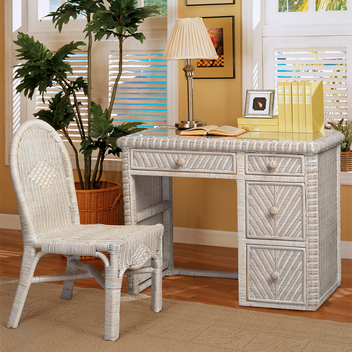 Desk And Chair Set Santa Cruz Computer Desk Chair Set In White Wash Wicker By Sea Winds