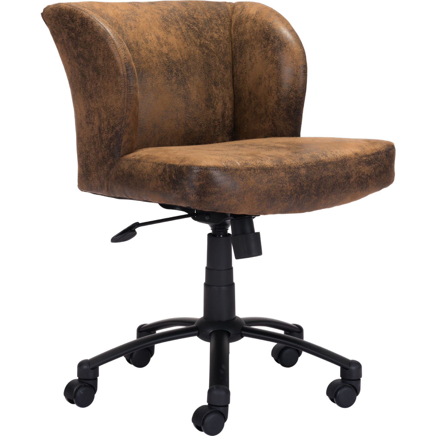 Linen Office Chair Shaw Office Chair In Brown Poly Linen On Black Steel By Zuo