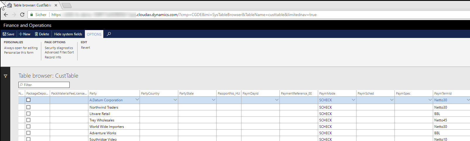 Cool Tool – Chrome Table browser for Dynamics 365 FOEE