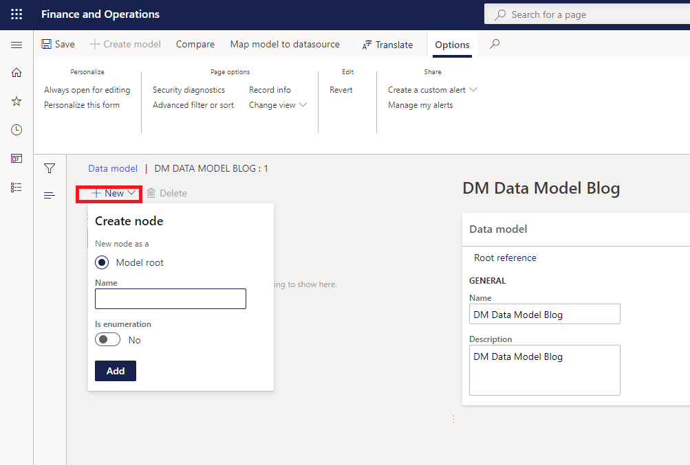 Data model create first node