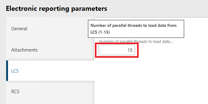 Electronic Reporting Parameters LCS Threads