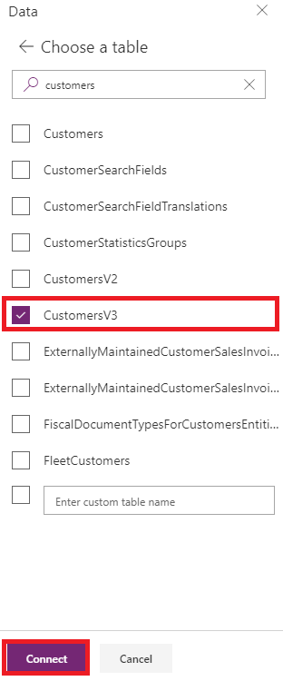 PowerApps DataSources Add Data Entity