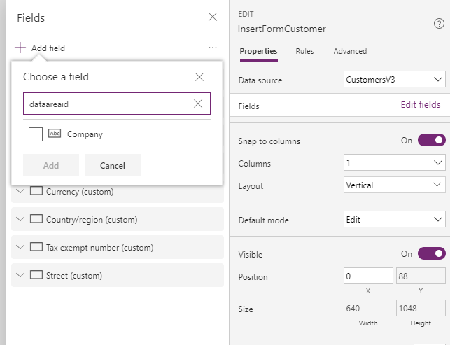 powerapps form add field
