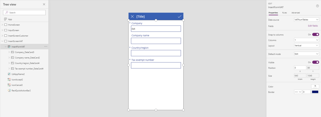PowerApps InsertScreenVAT
