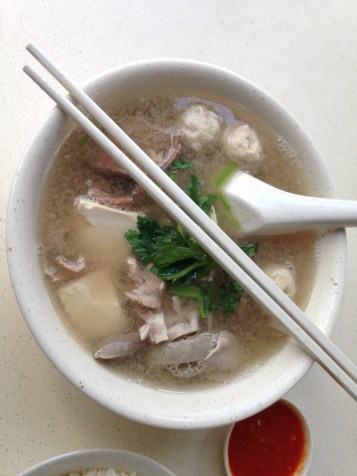 I was complimented on my chopstick use while eating this famous pig organ soup!