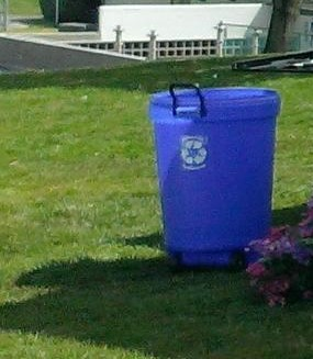 Wheeled Blue Recycle Bin
