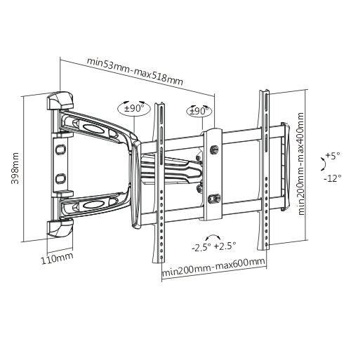 . BRATECK 37''-70'' Full motion bracket Extend, tilt and