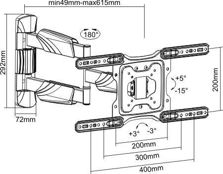 . BRATECK 23''-55'' Full motion TV wall mount bracket