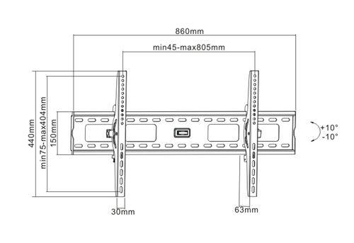 . BRATECK 37''-70'' Tilt wall mount bracket. Max load: 75kg.
