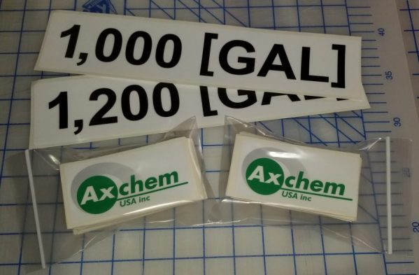 A set of adhesive vinyl stickers made for Axchem USA