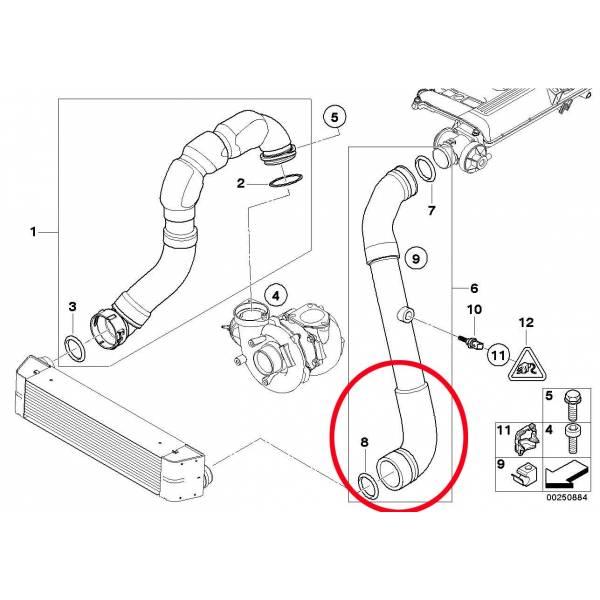 Durite renforcée de l'intercooler pour BMW 330D E46
