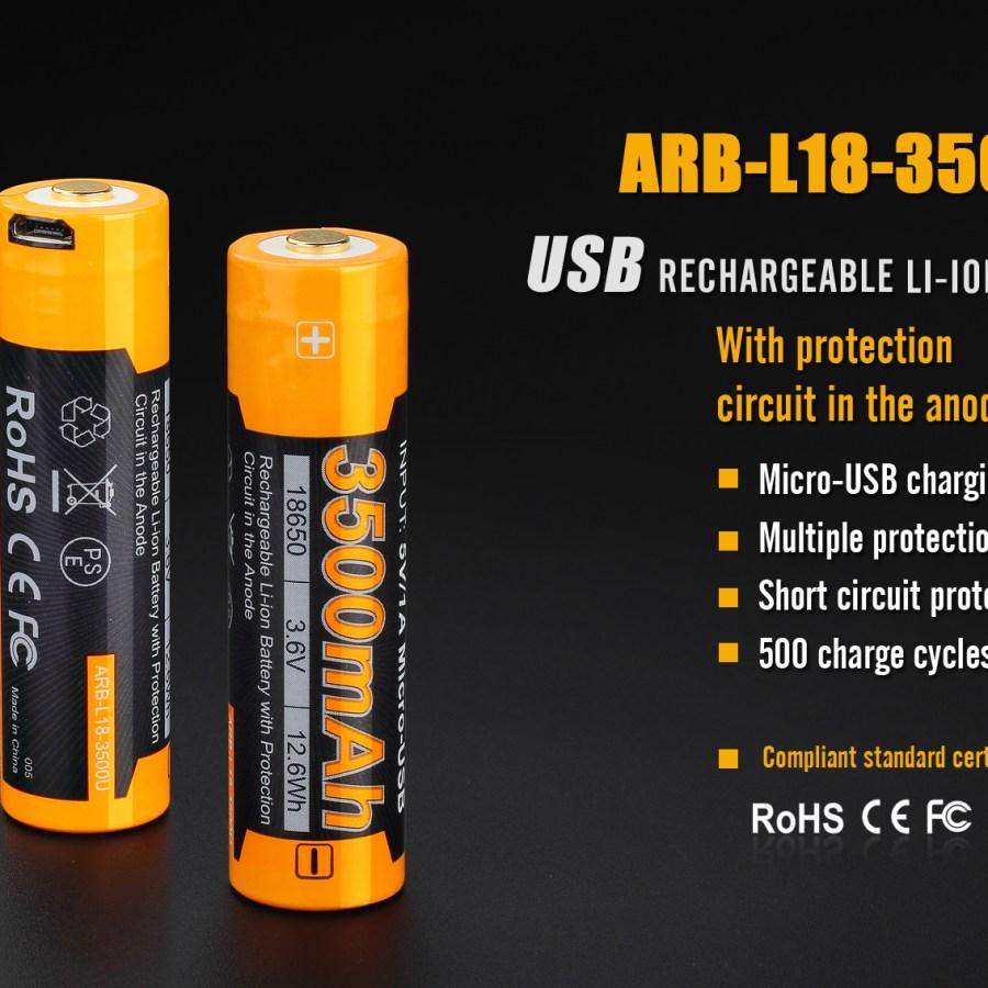 Li-ion akumulátor Fenix 18650 3500mAh USB