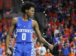 De'Aaron Fox. The University of Kentucky men's basketball team falls to Florida 88-66 at Exactech Arena in Gainesville, FL., on Saturday, February 4, 2017. Photo by Chet White | UK Athletics