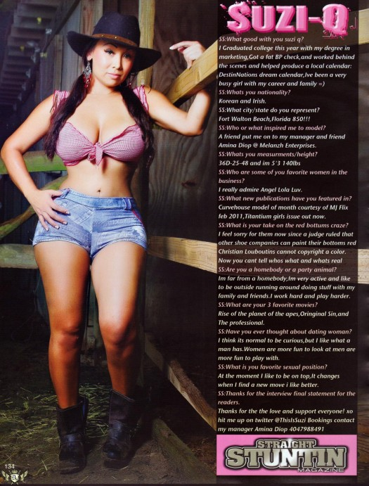 Suzi Q in the latest issue of Straight Stuntin