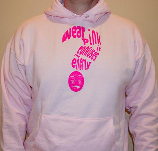 kale pink hoodie saying wear pink it confuses the enemy