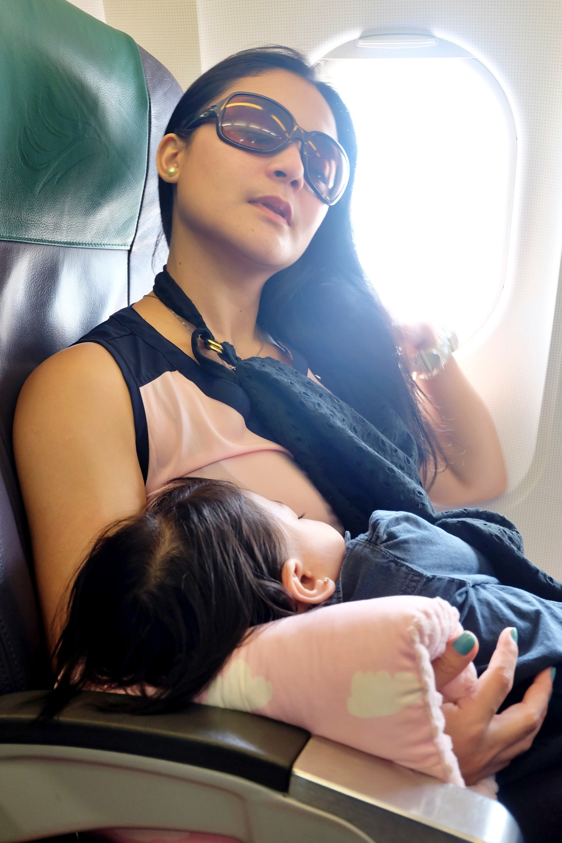 Airplane mother and child