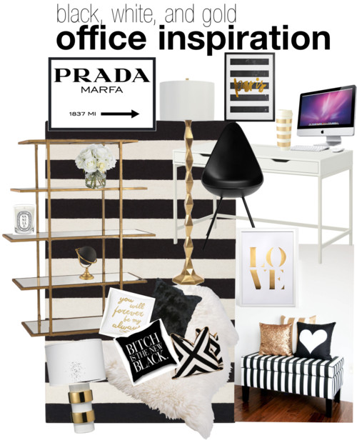 black, white, and gold office inspiration
