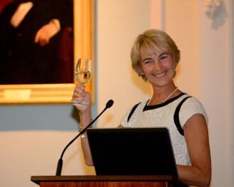 Dystonia Europe President Monika Benson proposing a toast to Dystonia Europe!
