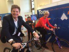 Matteo Volano of Boston Scientific and Monika Benson Dystonia Europe biking together to raise awareness and funds.