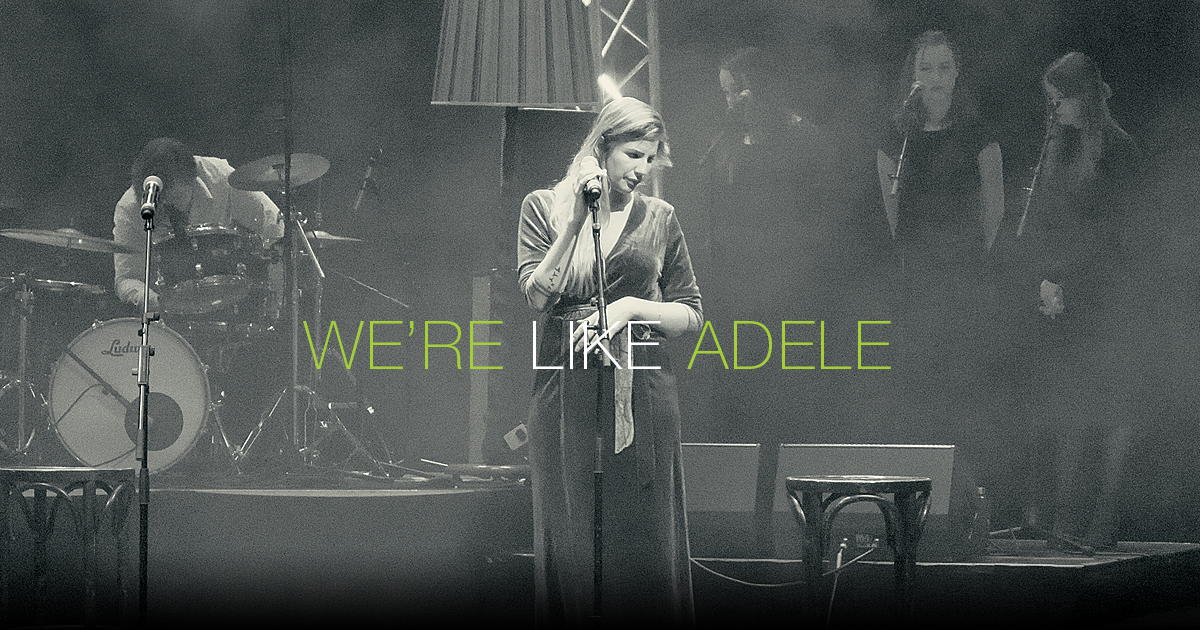 Custom YouTube thumbnail design voor videoproductie 'We're Like Adele'