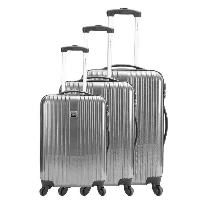 set de 3 valises de voyage incassables argent