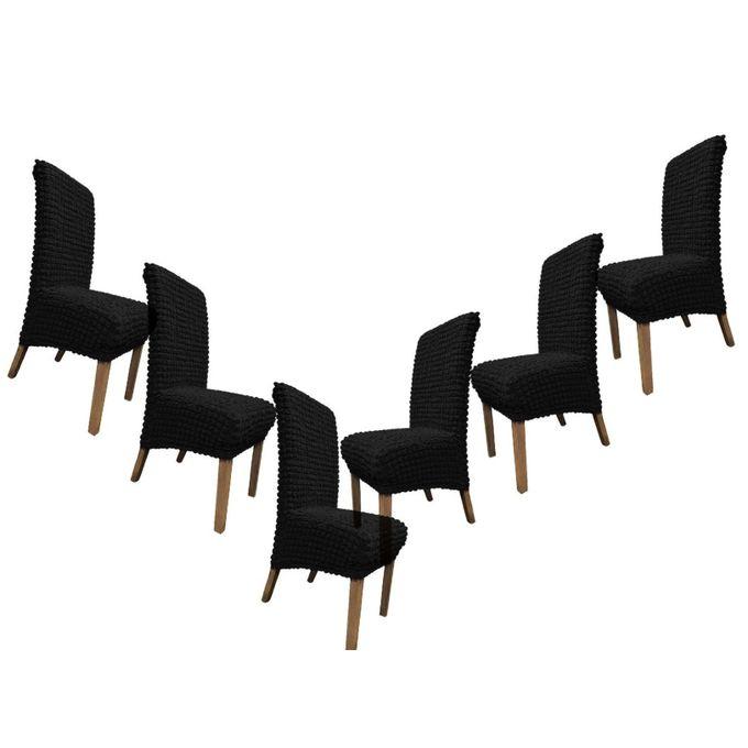 housse pour chaises 6 pieces noir